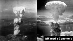 지난 1945년 8월 6일 일본 히로시마에 원자폭탄 투하이 투하된 모습(왼쪽)과 같은 달 9일 나가사키에 원폭이 투하된 모습. 사진 = Charles Levy. (자료사진)
