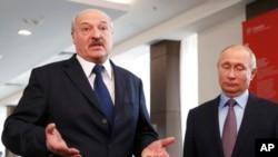 Президент Беларуси Александр Лукашенко и президент России Владимир Путин на встрече с журналистами. Сочи. 15 февраля 2019 г.