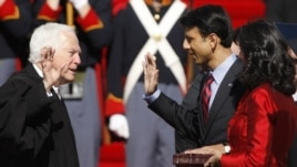 Louisiana Governor Bobby Jindal takes the oath of office on Jan. 14, 2008 during his inauguration ceremony. He was the first Indian-American elected governor of any state. The Smithsonian Institution will highlight the history of Indian-Americans in an up