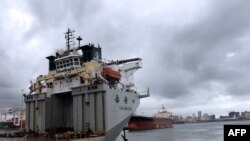 Un cargo chinois dans un port à Durban, en Afrique du Sud, le 25 mars 2013.