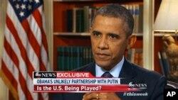 美國總統奧巴馬星期五在白宮接受美國廣播公司新聞節目訪問談到伊朗核問題。節目星期日在電視中播出。