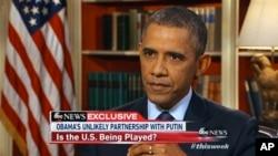 15일, 미국 ABC 방송에 출연한 오바마 대통령.