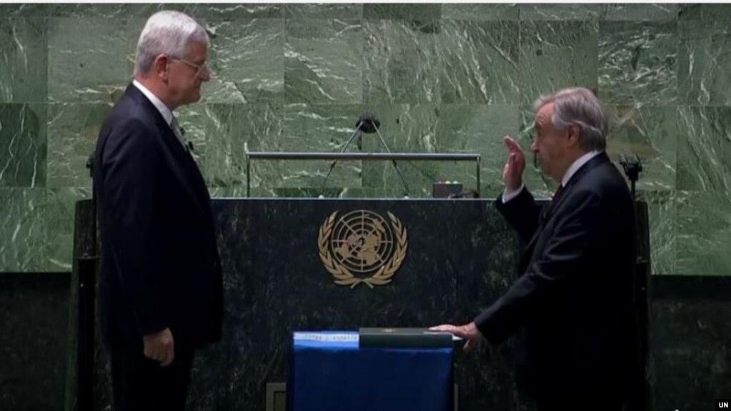 ကုလသမဂၢ အတြင္းေရးမွဴးခ်ဳပ္ Antonio Guterres က်မ္းက်ိန္ေနစဥ္