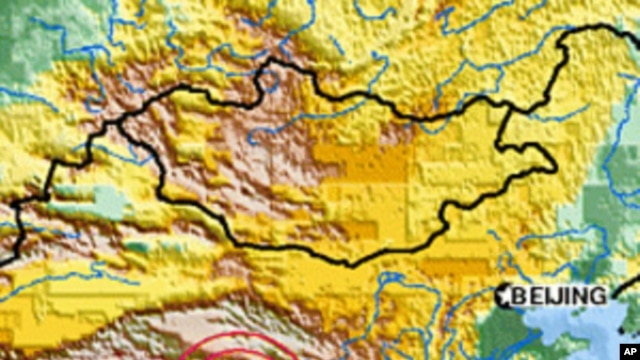 Map of Tibet earthquake, 14 Apr 2010