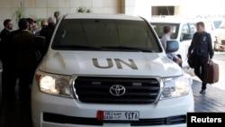 一隊聯合國化武調查人員車隊抵達敘利亞大馬士革(攝於2013年9月25日)
