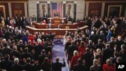 112대 개원식을 갖는 미국 하원의원들