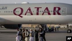 قطر ایرویز در فرودگاه کابل - ۹ سپتامبر ۲۰۲۱