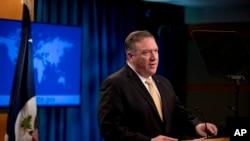 Ngoại trưởng Mỹ Mike Pompeo phát biểu về vấn đề Hong Kong tại cuộc họp báo ở Bộ Ngoại giao Hoa Kỳ hôm 18/11/19.