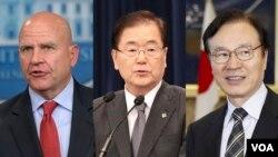H. R. 맥매스터 미국 백악관 국가안보보좌관(왼쪽부터)과 정의용 한국 청와대 국가안보실장, 야치 쇼타로 일본 국가안보국장.
