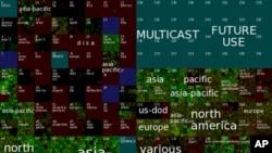 """美国南加州大学""""洛杉矶网络数据交换与储存项目""""2010年10月因特网协议第4版地址使用分布图"""
