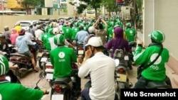 Grabbike drivers on strike in Ho Chi Minh City (Photo: VTC)