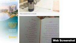 Thực đơn và rượu vang được phục vụ trong buổi tiệc. (Hình chụp từ VnExpress)