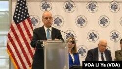 前美國助理國務卿拉塞爾2019年5月6日在美國和平研究所舉行的報告發佈會上講話。