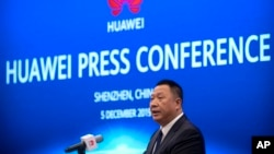 华为首席法务官宋柳平在深圳举行的记者会上讲话。(2019年12月5日)