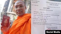 Nhà sư Campuchia Seun Ty cầm hộ chiếu vừa được chính quyền xã Long Phú trao trả hôm 14/02/2020 (trái) và giấy mời nhận lại hộ chiếu. Photo FB Seun Ty