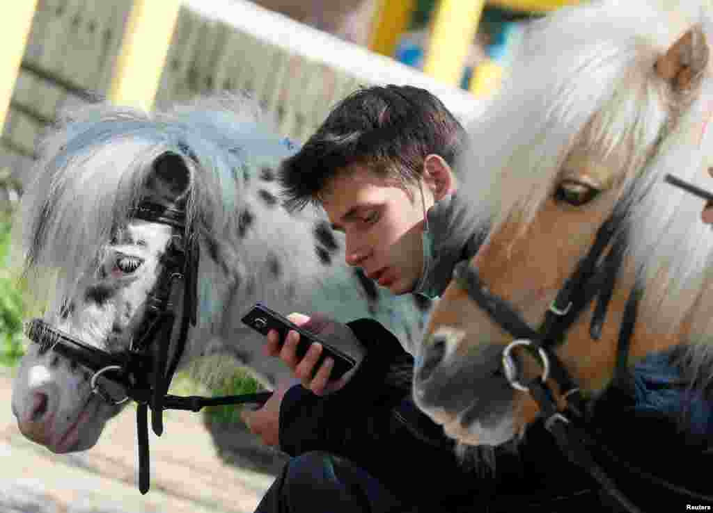 A man uses a mobile phone near his ponies at a park in central Kyiv, Ukraine.