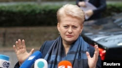 FILE - Lithuania's President Dalia Grybauskaite talks to the media in Brussels June 27, 2014.