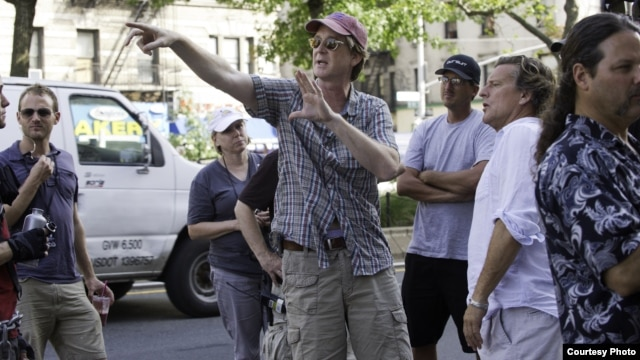 "Director David Koepp on the set of Columbia Pictures' ""Premium Rush,"" starring Joseph Gordon-Levitt. (Photo: Sarah Shatz)"