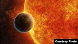 Illustration représentant l'exoplanète rocheuse LHS 1140 en orbite autour d'une étoile naine rouge à 40 années-lumière de la Terre, qui pourrait être le nouveau détenteur du titre «meilleur endroit pour rechercher des signes de vie au-delà du système solaire.»