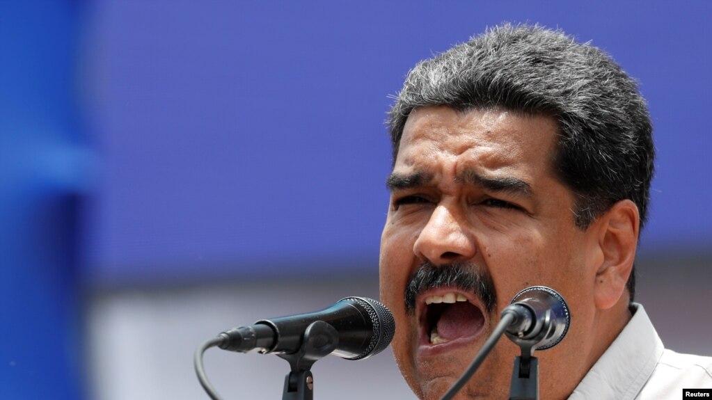 El presidente de Venezuela, Nicolás Maduro, habla a seguidores durante un mitin de campaña en Charallave, estado Miranda. Mayo 15, 2018.