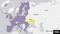 Peta wilayah Rusia, Ukraina dan Uni Eropa.