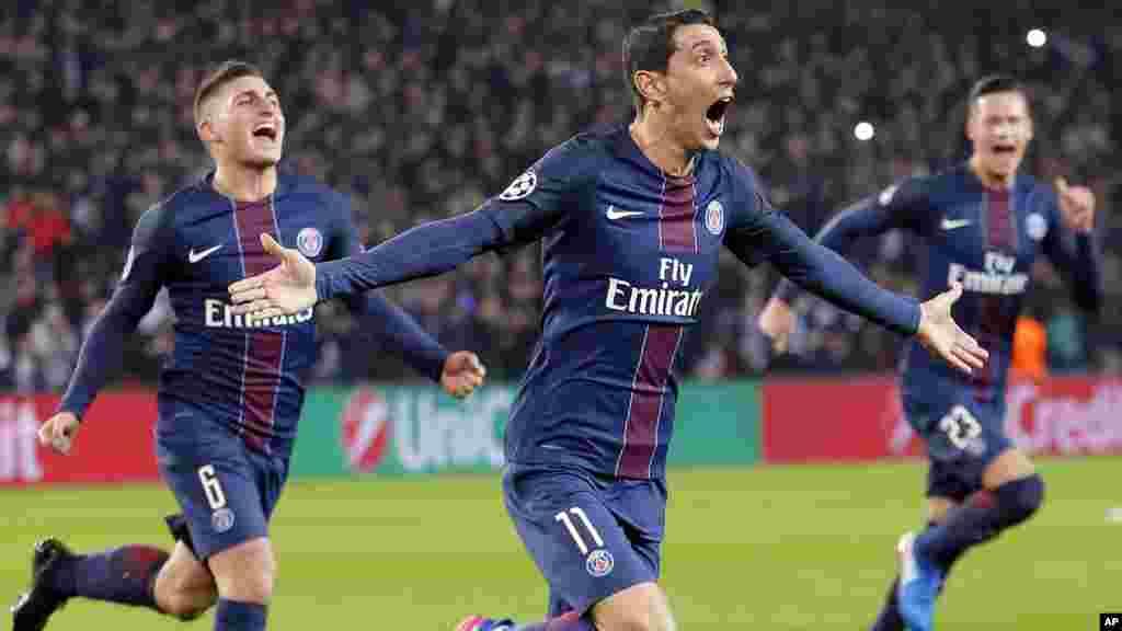 Angel Di Maria, à marqué un but lors du match contre le FC Barcelone, comme son cadeau d'anniversaire à Paris, le 14 février 2017.