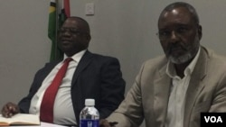 FILE: Former cabinet minister Gorden Moyo and Dr. Nkosana Moyo making some presentations at a seminar in Bulawayo.