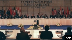 In this photo taken on Oct. 23, 1991, shows a general view of the Cambodian Peace Conference in Paris, France. (AFP PHOTO/ERIC FEFERBERG)
