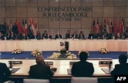 A general view of the Cambodian Peace Conference in Paris 23 October 1991. AFP PHOTO ERIC FEFERBERG