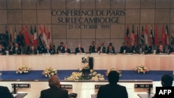 A general view of the Cambodian Peace Conference in Paris 23 October 1991. (AFP PHOTO/ERIC FEFERBERG)