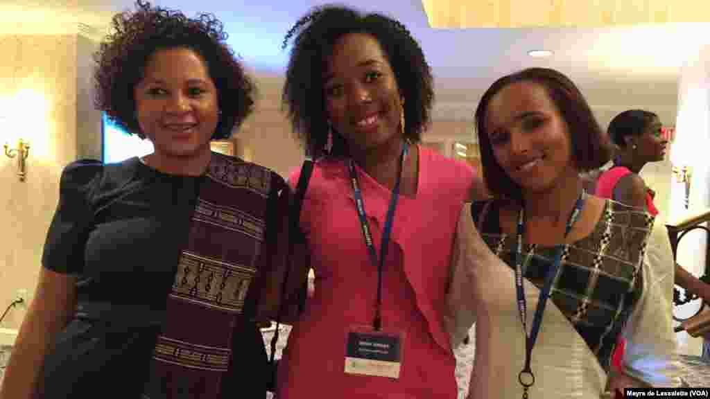 Nádia Marçal, Irina Viegas et Graça Sanches , des participants du YALI 2015, Washington, 3 août 2015.