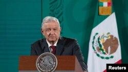 El presidente de México, Andrés Manuel López Obrador, durante su conferencia de pensa diaria el 7 de octubre de 2021.