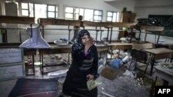 زنیکه در مکتب ملل متحد در غزه پناه گرفته بود
