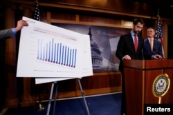 U.S. Senator Tom Cotton (R-AR) (2nd R) and Senator David Perdue (R-GA) (R) unveil legislation aimed at curbing legal immigration by halving the number of legal immigrants admitted into the United States, at the U.S. Capitol in Washington, Feb. 7, 2017.