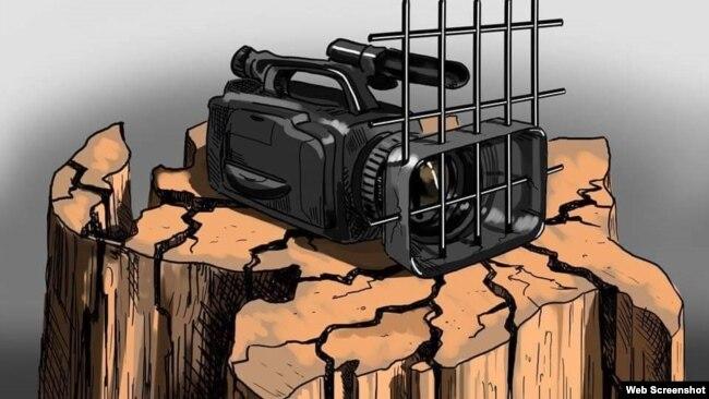 Gündüz Ağayevin `Mehman Hüseynovu azad edin! Free Mehman Huseynov! illustriasiyası