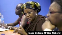 Zainab Hawa Bangura, Perwakilan Khusus PBB Urusan Kekerasan Seksual dalam Konflik (tengah).