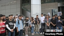 传媒工作者和市民集体报案警察无理拘捕记者(苹果日报资料图片)