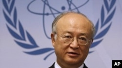 Director General of the International Atomic Energy Agency, IAEA, Yukiya Amano from Japan, speaks during a news conference after the first meeting of the IAEA's board of governors at the International Center, in Vienna, Austria, June 6, 2011