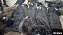 이슬람 수니파 무장단체 ISIL이 시리아 하마 시 동부 마을에서 20명을 사살했다고 시리아 관영 사나통신이 18일 보도하고 사진을 공개했다.