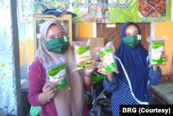 Petani dari Desa Ganesha Mukti Kecamatan Muara Sugihan, Provinsi Sumatera Selatan, dan produksi beras lahan gambut mereka. (Foto: Courtesy/Badan Restorasi Gambut)
