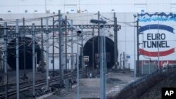 The entrance to the Channel Tunnel near Calais. in Coquelles, Saturday, Jan.17, 2015.