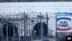 The entrance to the Channel Tunnel near Calais, in Coquelles, Saturday, Jan.17, 2015.