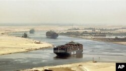Cargo ships traversing the Suez Canal (file photo)