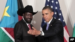 President Barack Obama meets with the President of South Sudan Salva Kiir in New York, Sept., 21, 2011.