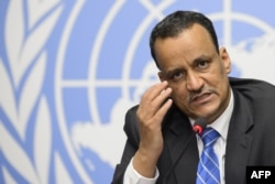 FILE - United Nations Special Envoy for Yemen, Ismail Ould Cheikh Ahmed, gestures during a press conference at the UN offices at Geneva, June 19, 2015.