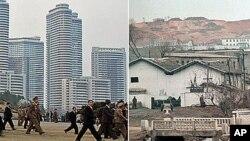 올해 4월 평양 시내(왼쪽)와 평양 외곽의 마을 풍경.