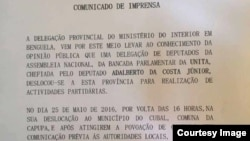 Comunicado Ministerio Interior Delegacao Benguela - ataque UNITA