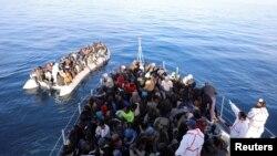 Wahamiaji wa Libya katika bahari ya Mediterranean. Jan. 15, 2018.