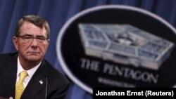 20일 애슈턴 카터 미 국방장관이 국방부에서 기자회견을 하고 있다.