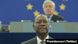 Le president iviorien Ouattara dans l'hémicyle du Parlement à Strasbourg, le 14 juin 2017. (Twitter/Presidenceci)